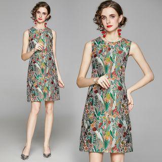 Sleeveless   Floral   Dress   Print   Mini