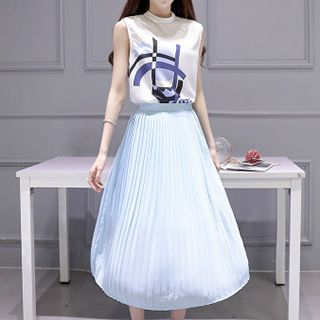set-printed-sleeveless-top-accordion-skirt