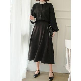 Band-Waist Long Flare Skirt 1064509444