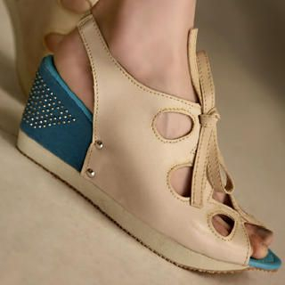 Buy Kvoll Rhinestone Cut-Out Wedge Sandals 1022653782