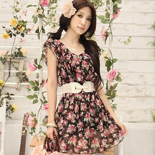 Buy Tokyo Fashion Ruffled Floral-Print Chiffon Dress 1022883070