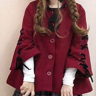 Image of Devil Hooded Button Jacket / Cat Ear-Accent Hooded Jacket / Mini Plaid Pleated Skirt / Long-Sleeve Top