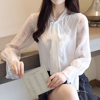 Image of Bow Accent Pleated Chiffon Blouse