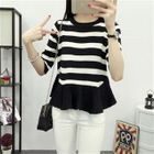 3/4-Sleeve Striped Knit Top Black White - One Size 1596