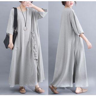 Image of 3/4-Sleeve Knit Maxi Dress
