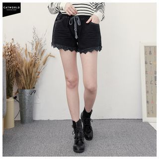 Lace Trim Denim Shorts 1048772063