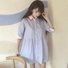 Striped Elbow-Sleeve Shirt Dress 1596