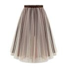 Pleated Mesh Panel Maxi Skirt 1596