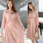 Long-Sleeve Lace Maternity Dress 1596