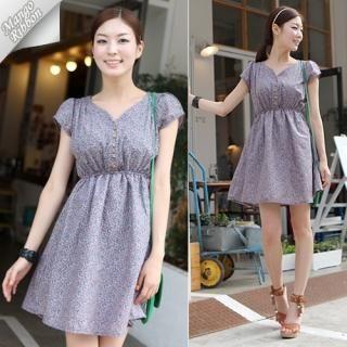 Buy Mango Ribbon Floral-Print Short-Sleeve Dress 1022976862