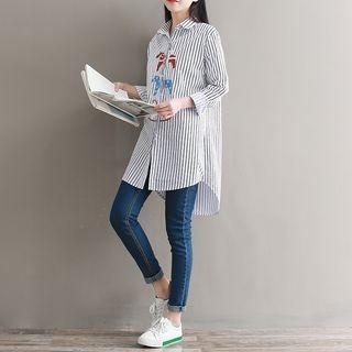 Long-Sleeve Striped Long Shirt 1065501489