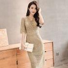 Lace Elbow-Sleeve Sheath Dress 1596