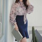 Set: Printed Chiffon Blouse + Ruffled Skirt 1596