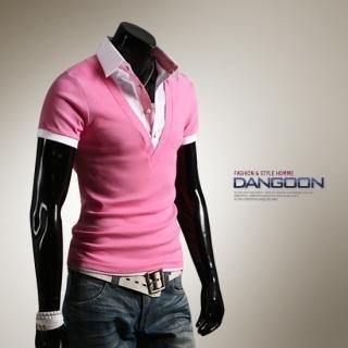 Buy DANGOON Inset Polo Shirt V-Neck Top 1022517016