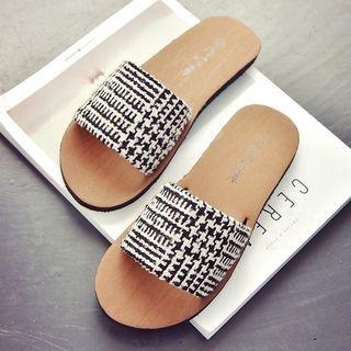 Check / Sequined Flat Slide Sandals 1060446490