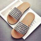 Check / Sequined Flat Slide Sandals 1596
