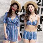 Set of 3: Printed Elbow-Sleeve Dress + Bikini Top + Swim Shorts 1596