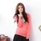Deep V-Neck Knit Top Dark Pink - One Size