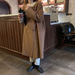 Image of Double-Breasted Fleece Long Coat Camel - One Size