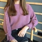 Ribbed Knit Lace Up Sleeve Sweater 1596