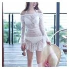 Set: Plain Bikini + Lace Cover-Up 1596