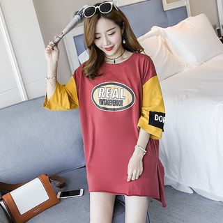 Image of Maternity 3/4-Sleeve Lettering Color Block Tunic T-Shirt