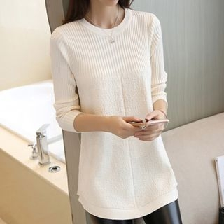 Ribbed Long-Sleeve Knit Top 1062976202