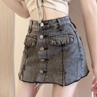 Image of Lace Up Off-Shoulder Blouse / Denim Mini A-Line Skirt