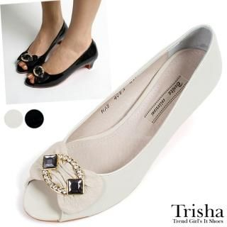 Buy Trisha Bejeweled Open-Toe Patent Pumps 1022521212
