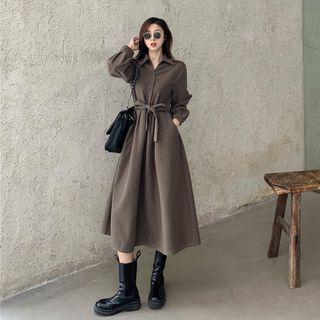 Long-sleeve Midi Collared Dress
