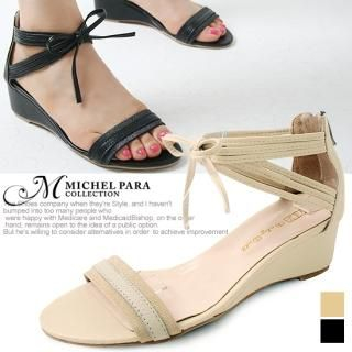 Buy MICHEL PARA COLLECTION Bow-Accent Wedge Sandals 1022937936