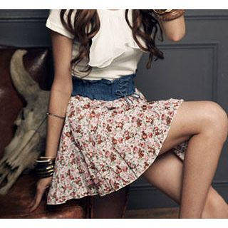 Buy PUFFY Floral Print Skirt White – One Size 1022979335