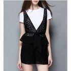Set: Short-Sleeve T-Shirt + Lace Vest + Shorts 1596