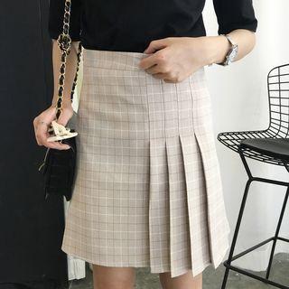 Plaid Half Pleated Mini Skirt 1050991117