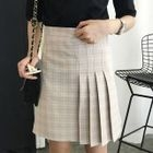 Plaid Half Pleated Mini Skirt 1596