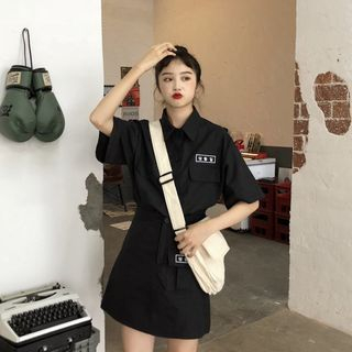 Image of Short-Sleeve Embroidered Shirt / Mini Embroidered A-line Skirt