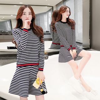 Set: Long-Sleeve Striped Knit Top + Striped Knit A-Line Skirt 1052716767