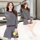 Set: Long-Sleeve Striped Knit Top + Striped Knit A-Line Skirt 1596