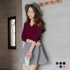 Ribbed V-Neck Knit Sweater 1596