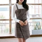 Set: Long Sleeve Ribbed T-Shirt + Plaid Pinafore Dress 1596