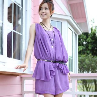 Picture of 19th Street Sleeveless Pleated Wrap Playsuit 1023052516 (Womens Pleated Pants, 19th Street Pants, China Pants)