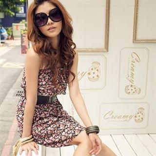 Buy PUFFY Strapless Floral Dress with Belt 1022521614
