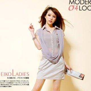 Buy Reiko Ladies Mock-Two Pieces Shirtdress Greyish Purple – One Size 1022938223