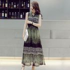 Print Sleeveless Maxi Chiffon Dress 1596