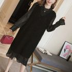 Maternity Set: Dotted Long-Sleeve Midi Dress + V-Neck Sleeveless Dress 1596