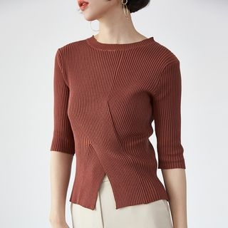 Ribbed Elbow-Sleeve Knit Top 1057683772