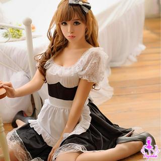 Maid Party Costume Set Black & White - One Size 1036162576