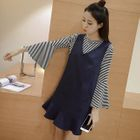 Set: Striped Long Sleeve T-Shirt + Ruffle Hem Pinafore Dress 1596