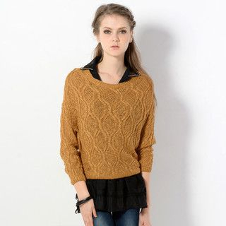 Mock Two-Piece Knit Sweater Camel - One Size 1035447725
