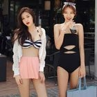 Cut Out Swimsuit / Set: Striped Bikini Top + Swim Skirt 1596